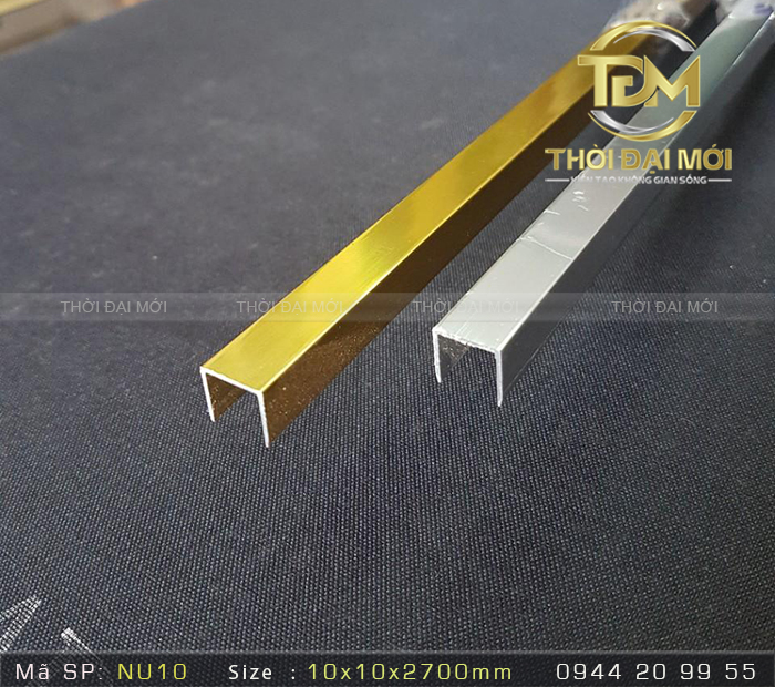 Nẹp nhôm U10mm